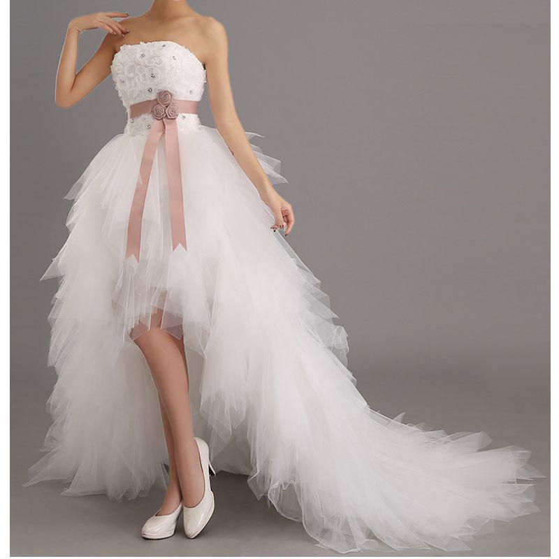 a3af1264040 Robe de mariée courte devant + traine - Coussin mariage