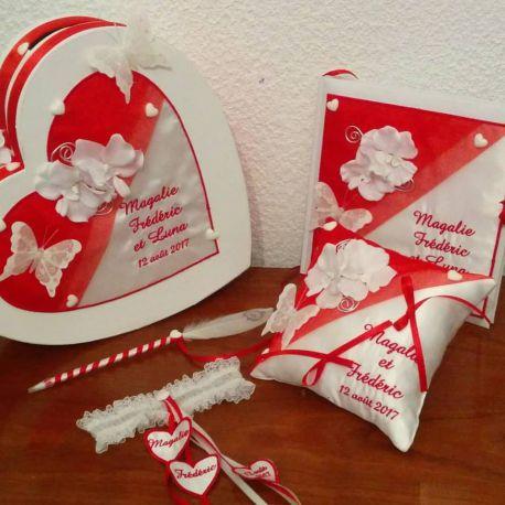 Lot Coussin D Alliances Tirelire Coeur Livre D Or Jarretiere Stylo Theme Orchidees Ton Rouge Coussin Mariage