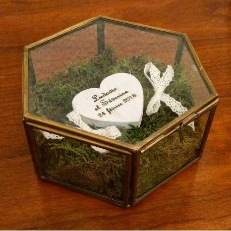 Porte alliances : l'ecrin de verre / boite hexagonale