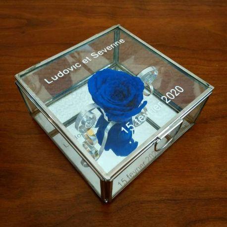 porte alliances : la Boite carrée en verre et sa rose éternelle