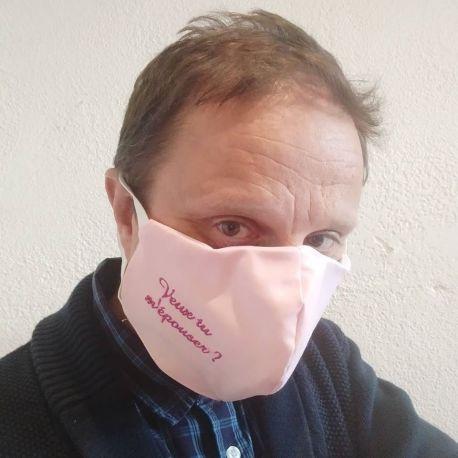 Masque de protection personnalisé, brodé avec un petit texte, logo