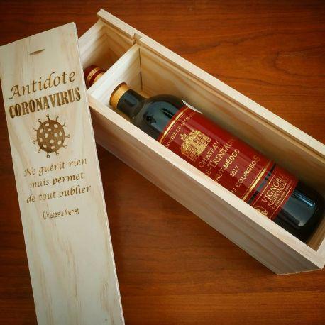Caisse en bois personnalisée pour bouteille de vin