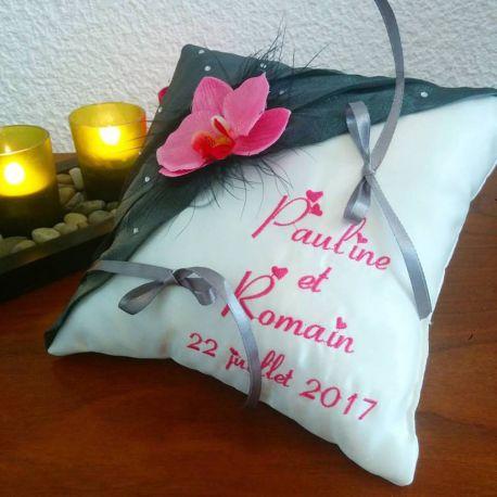 Coussin alliances - mariage fleurs orchidées