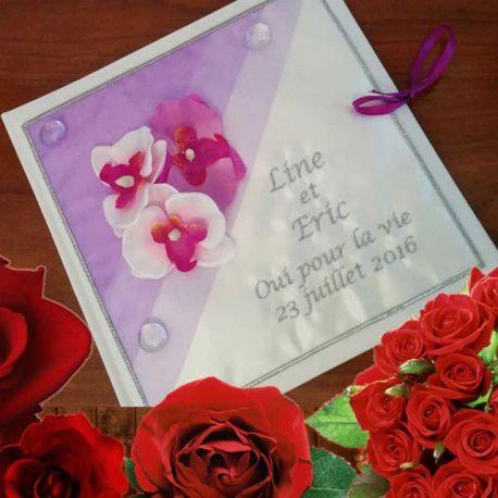 Livre D 39 Or Personnalis Th Me Orchid Es Ton Parme Coussin Mariage