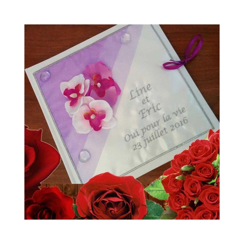 Livre d 39 or personnalis th me orchid es ton parme coussin mariage - Livre d or personnalise mariage ...